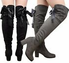 Ladies Womens Over The Knee Thigh High Ribbon Lace Up Mid Heels Boots Shoes Size