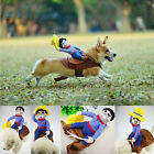 Pet Dog Prank Festival Costume Cosplay Cowboy Funny Soft Dog Rider Cloth Prop