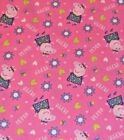 PEPPA PIG PEPPA on pale pink  : 100% cotton licensed fabric by the 1/2 metre