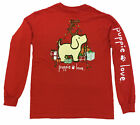 Puppie Love Youth Christmas Reindeer Pup Help Rescue Dogs Long Sleeve Tee