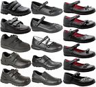 KIDS BOYS GIRLS FORMAL STRAP SLIP ON LEATHER CASUAL BLACK BACK SCHOOL SHOES SIZE