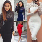 Fashion Women's Lace Bodycon Evening Party Cocktail Short Mini Dress Long Sleeve