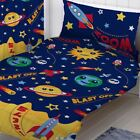 """SPACE PLANETS BEDROOM - MATCHING CURTAINS 54"""" & 72"""", SINGLE DUVET COVER SET"""