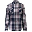 Lee Cooper Womens Long Sleeve Check Shirt Casual Cotton Chest Pocket Fold Over