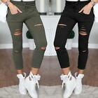 2017 Womens High Waisted Skinny Ripped Denim Pants Slim Pencil Jeans