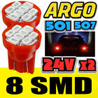 24V 501 T10 W5W DRL PUSH WEDGE 8 DEL 360 DEG XENON RED SIDE LIGHT BULBS 194