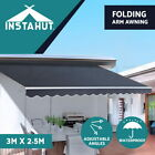 Instahut Outdoor Folding Arm Awning Retractable Sunshade Canopy Grey 9 sizes