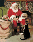 """16X20"""" DIY Paint By Number Kit Paint On Canvas Santa Xnas Gift Cat Oil Painting"""