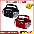 GROOV-E Retro Boombox Portable CD Cassette And Radio Player + Aux - Red / Black