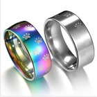 2017 Cat or Dog Pet Paw Ring Stainless Steel Rainbow Anime Pet Finger Rings MMJ