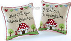 Embroidered Patchwork Fairy Toadstool Heart Cushion Cover & Inner Chic Shabby