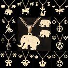 Stainless Steel Gold Elephant Cat Horse Earrings Necklace Set Jewelry Women Gift