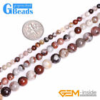 Natural Round Dark Red Mexico Laguna Lace Agate Jewelry Making Beads Strand 15''