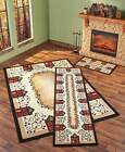Decorative Rug Collection Primitive Houses, Hearts & Berries & Accent Olefin New