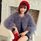 Womens Girls Luxury Ostrich Fur Coat Short Turkey Feather Jacket Overcoat Slim