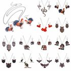 Fashion Printing Animal Horse Cock Pendant Necklace Earrings Set Women Jewelry