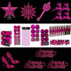 Cerise Glitter/Plain Christmas Tree Decorations Baubles Stars Cones & More