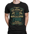 Life Begins At 30 Mens T-Shirt BORN In 1988 Year of Legends 30th Birthday Gift