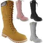 Womens Mid Calf Boots Ladies Lace Up Low Heel Combat Winter New Flat Shoes Size