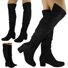 Womens Ladies Over The Knee High Rouched Long Low Heel Fashion Boots Shoes Size