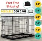 Dog Crate Cage Portable Collapsible Metal Pet Kennel House Playpen w/ABS Tray