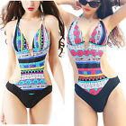 Women Sexy Bohemia One Piece Push Up Monokini Halter Bikini Swimwear Swimsuit