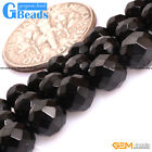 Natural Genuine Black Spinel Gemstone Faceted Round Beads For Jewelry Making GB