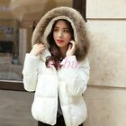 Chic Womens Short Down Jacket Warm Coat Fur Collar Hooded Overcoat Thick Outwear