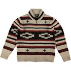 Pendleton Full Zip Shawl Collar Cardigan Black Red Motif