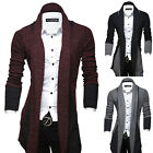 Mens Sweater Placket Long Line Open Cable Knitted Shawl Jumper Coat Cardigan Top