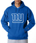 New York Giants NY Logo Champion Hoodie Pullover Sweatshirt Fleece Mens New Blue