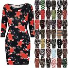 Womens Ladies Christmas Printed Bodycon Fitted Long Sleeve Party Xmas Mini Dress
