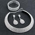 New Women Fashion Silver Artificial Diamond Jewelry Necklace Earrings TXST