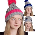 Womens Knitted Warm Soft Pom Chunky Thick Crochet Winter Baggy Bobble Cap Hat