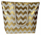 Lorenz Large Cheveron Zigzag Gold Silver Holiday Tote Beach Bag Beachbag