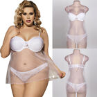 Plus Size 4-18 White Transparent & Lace Babydoll Lingerie Dress & G-string Set