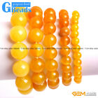"""Handmade Natural Stone Yellow Agate Beaded Stretchy Bracelet Free Shipping 7"""""""