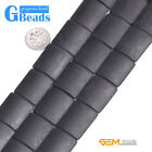 Rectangle Matte Black Agate Gemstone Loose Beads For Jewelry Making String 15""