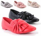 WOMENS LADIES FLAT KNOT BOW FAUX LEATHER WALKING PUMPS SLIP ON BALLERINA SHOES