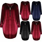 Womens Ladies Velvet Long Sleeve Jumper Zip Up Baggy Oversized Hi Lo Batwing Top