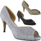 Womens Glitter Peeptoe Shoes Mid Heel Party Bridesmaid Wedding Bride Ladies Size