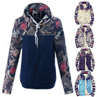NEW Men Fashion Floral Patchwork Hooded Jacket Warm Casual Anorak Windbreaker
