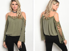 NWT OLIVE GREEN BOHO BLOUSE W/ CROCHET OPEN SLEEVES (S, L)