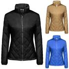 Women Casual Long Sleeve Solid Zip-up Quilted Lightweight Jacket Coats T