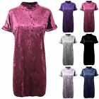 Womens Ladies Crushed Velvet Velour Turn Up Sleeve Side Pockets Baggy Mini Dress