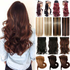 UK 100% Thick AS Real Clip in One Piece Hair Extensions Extention Black Brown R8