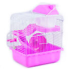 2 Floors Pet Animals Hamster Cage Mouse House with Slide Disk Spinning Bottle