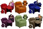 Microfiber Children's Contemporary Recliner with Storage Arms