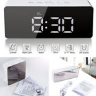 Creative LED Digital Alarm Clock Night Light Thermometer Display Mirror Lamp