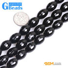 Black Agate Gemstone Faceted Rice Beads For Jewelry Making Free Shipping 15""